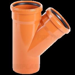 Тройник ПВХ 45° ⌀ 250х250 мм для наружной канализации
