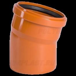 Отвод 15° ⌀ 110 мм для наружной канализации