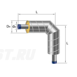 Отвод Ст 76х3-ППУ-ОЦ в ППУ изоляции