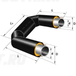 П-образный элемент Ст 108х4-1-ППУ-ПЭ в ППУ изоляции