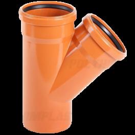 Тройник ПВХ 45° ⌀ 110х110 мм для наружной канализации