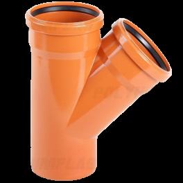 Тройник ПВХ 45° ⌀ 200х200 мм для наружной канализации