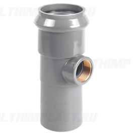 Тройник ПВХ напорный с резьбовым выходом ⌀ 110 мм