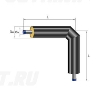 Отвод Ст 40х3,5-ППУ-ПЭ в ППУ изоляции