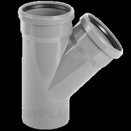Тройник ПВХ 45° ⌀ 50х50 мм для внутренней канализации