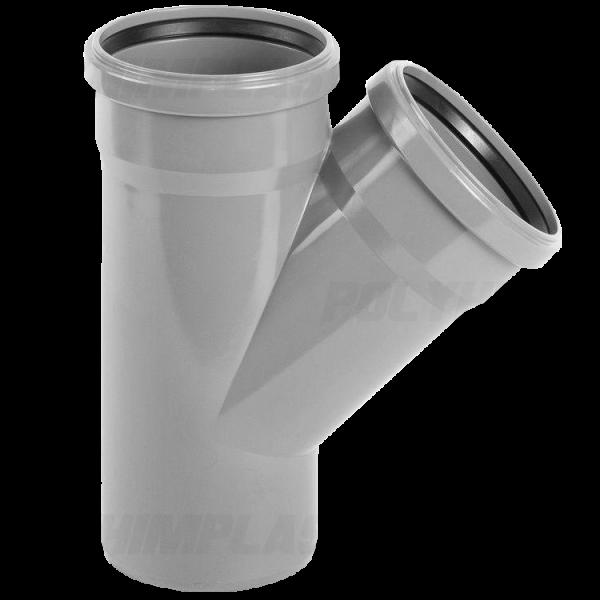 Тройник ПВХ 45° ⌀ 110х110 мм для внутренней канализации