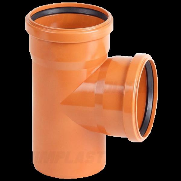 Тройник ПВХ 90° ⌀ 110х110 мм для наружной канализации