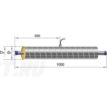 Элемент трубопровода Ст 45- 1-ППУ-ОЦ в ППУ изоляции