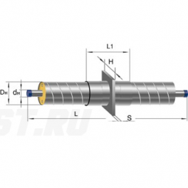 Неподвижная опора Ст 325-650x40 1-ППУ-ОЦ в ППУ изоляции