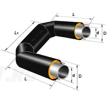 П-образный элемент Ст 219х6-1-ППУ-ПЭ в ППУ изоляции