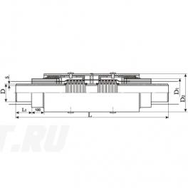 Сильфонный компенсатор СКУ Ст 125-1,6-90-1-ППУ-ОЦ в ППУ изоляции