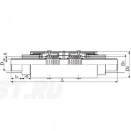 Сильфонный компенсатор СКУ Ст 200-1,6-140-1-ППУ-ОЦ в ППУ изоляции