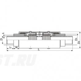 Сильфонный компенсатор СКУ Ст 250-1,6-160-1-ППУ-ПЭ в ППУ изоляции
