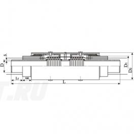 Сильфонный компенсатор СКУ Ст 400-1,6-190-1-ППУ-ОЦ в ППУ изоляции