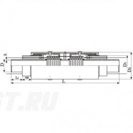 Сильфонный компенсатор СКУ Ст 500-1,6-200-1-ППУ-ОЦ в ППУ изоляции