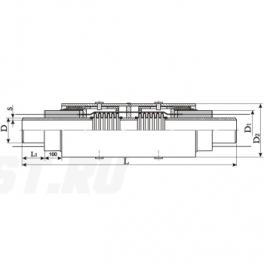 Сильфонный компенсатор СКУ Ст 700-1,6-210-1-ППУ-ПЭ в ППУ изоляции