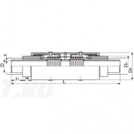 Сильфонный компенсатор СКУ Ст 80-1,6-70-1-ППУ-ПЭ в ППУ изоляции