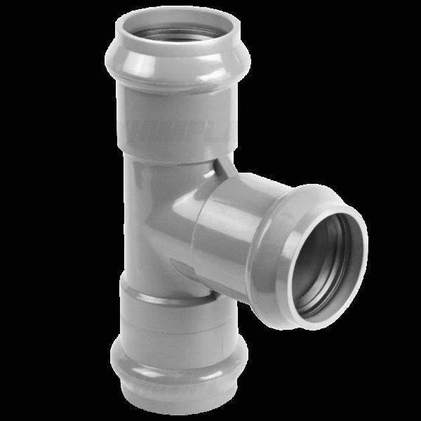 Тройник ПВХ напорный раструбный ⌀ 110х110 мм 90°