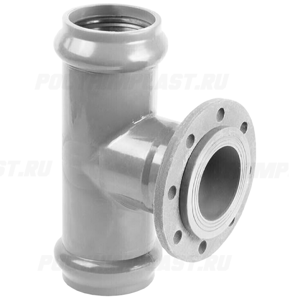 Тройник ПВХ напорный с металлическим фланцем ⌀ 160х150 мм 90°