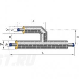 Тройник параллельный Ст 108 38 1-ППУ-ОЦ в ППУ изоляции