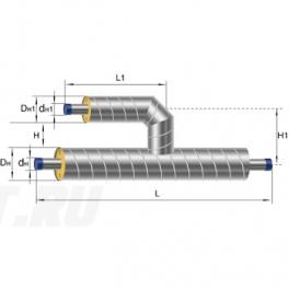 Тройник параллельный Ст 108 57 1-ППУ-ОЦ в ППУ изоляции