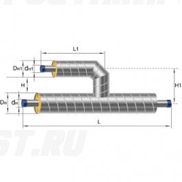 Тройник параллельный Ст 133 57 1-ППУ-ОЦ в ППУ изоляции