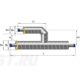 Тройник параллельный Ст 76 45 1-ППУ-ОЦ в ППУ изоляции