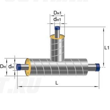 Тройник Ст 133 133 1-ППУ-ОЦ в ППУ изоляции
