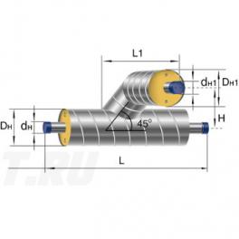 Тройниковое ответвление Ст 133 57 1-ППУ-ОЦ в ППУ изоляции