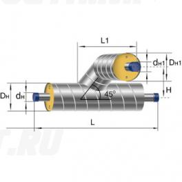 Тройниковое ответвление Ст 76 32 1-ППУ-ОЦ в ППУ изоляции