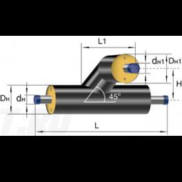 Тройниковое ответвление Ст 76 45 1-ППУ-ПЭ в ППУ изоляции
