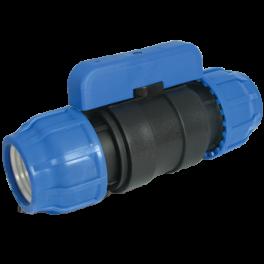 Кран шаровый компрессионный ПЭ 100 ⌀ 25x25 мм