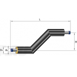 Z-образный элемент Ст 159х4,5-1-ППУ-ПЭ в ППУ изоляции